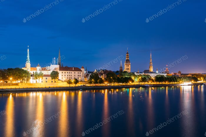 Evening In Riga, Latvia. Night View With Blue Sky. Copyspace. No