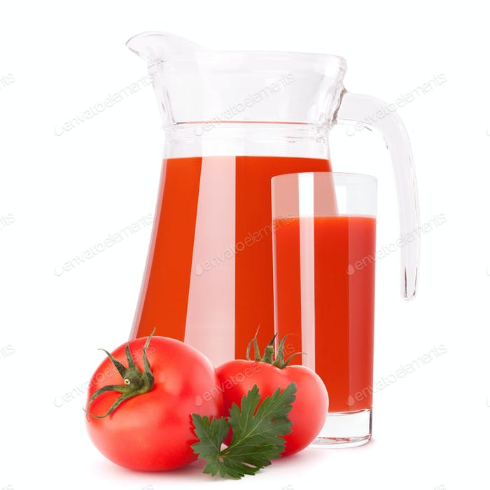 Tomato vegetable juice in glass jug