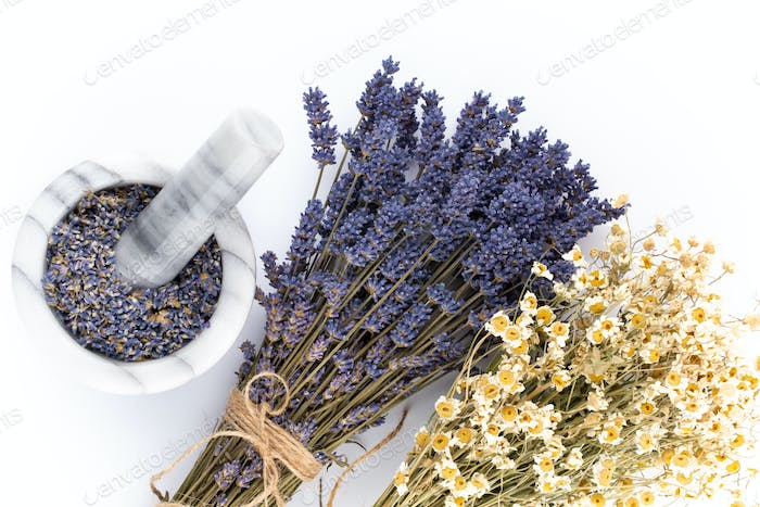 lavender spa products with dried lavender flowers on a isolated background.