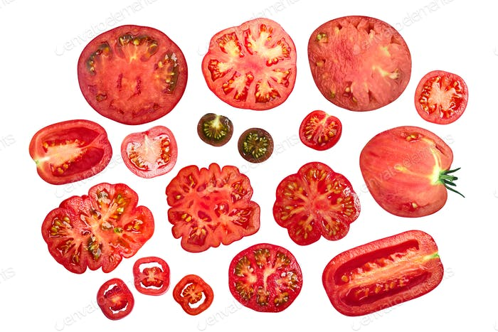 Sliced tomatoes, top view