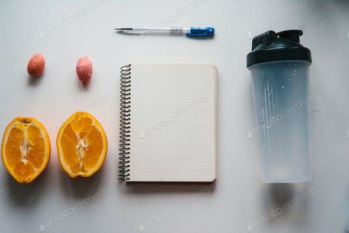 Workout und Fitness, Planungskontrolle Diät-Konzept.