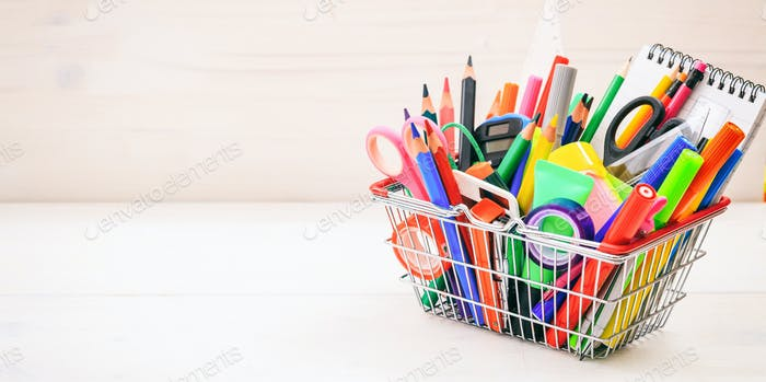 School shopping basket on white background