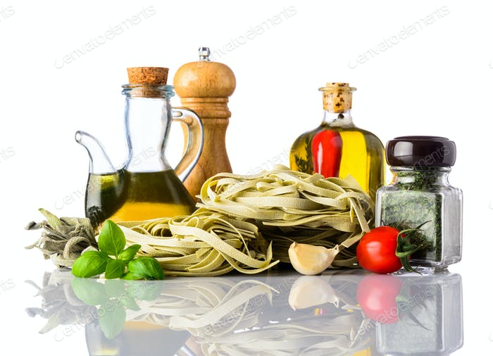 Green Tagliatelle Pasta and Italian Cuisine on White