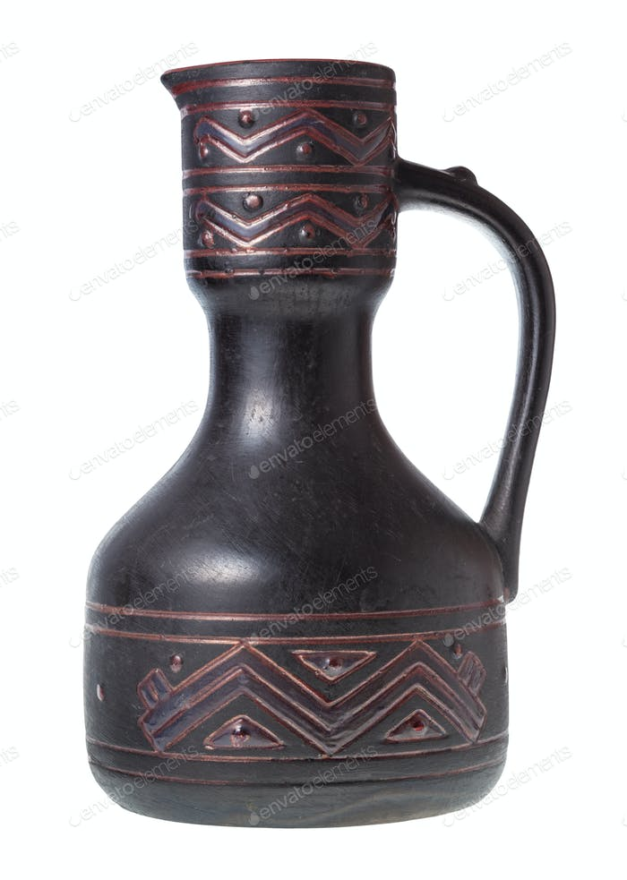 side view of georgian ceramic ewer isolated