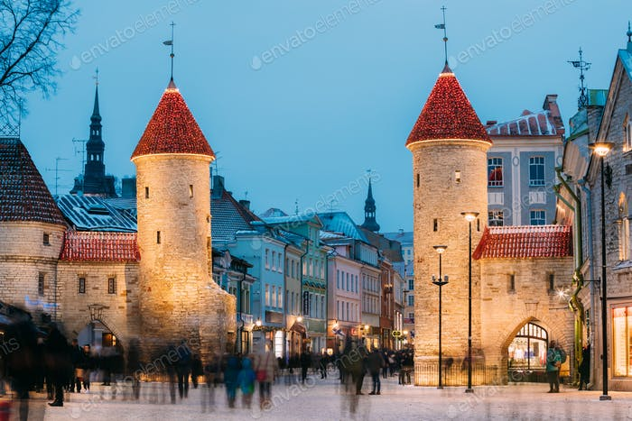 Tallinn, Estonia. Famous Landmark Viru Gate In Street Lighting A