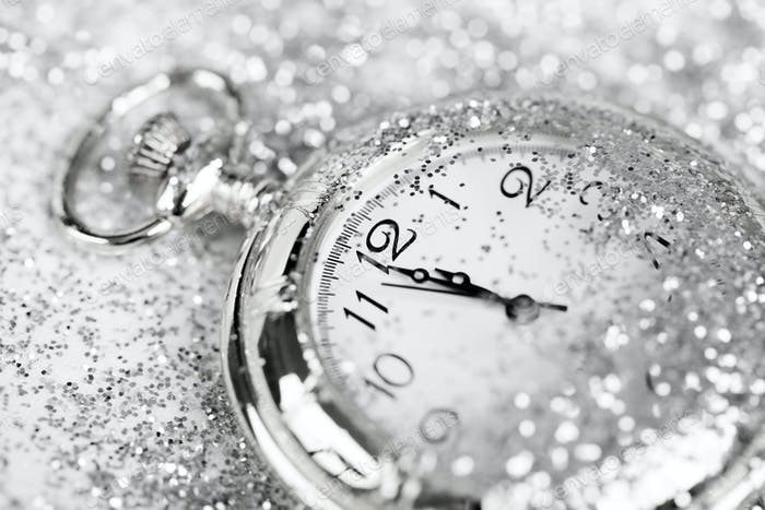 Old silver watch closeup