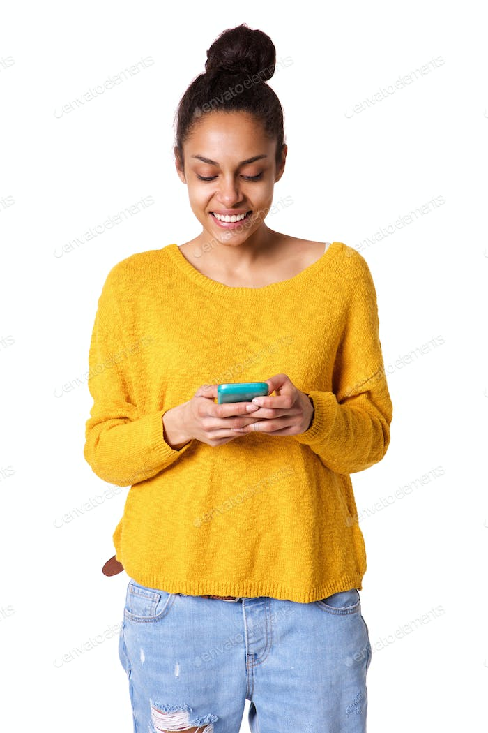 Beautiful young african woman reading text message