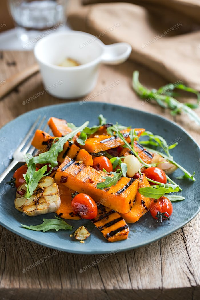 Grilled Butternut Squash with Cherry Tomatoes and Rocket Salad