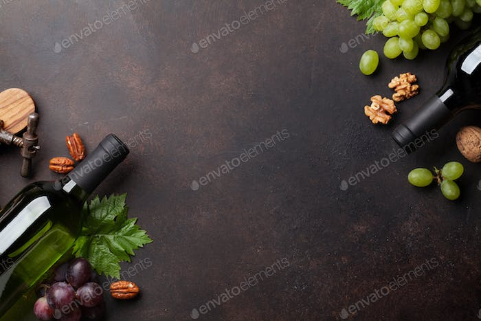Wine, grape and nuts