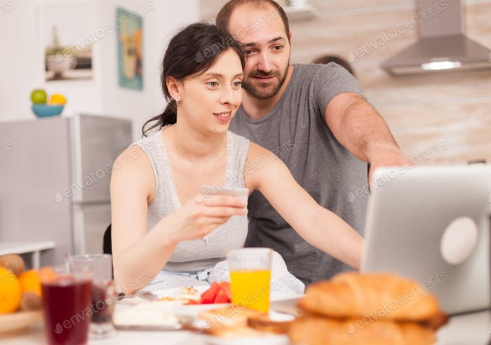 Couple doing online shopping
