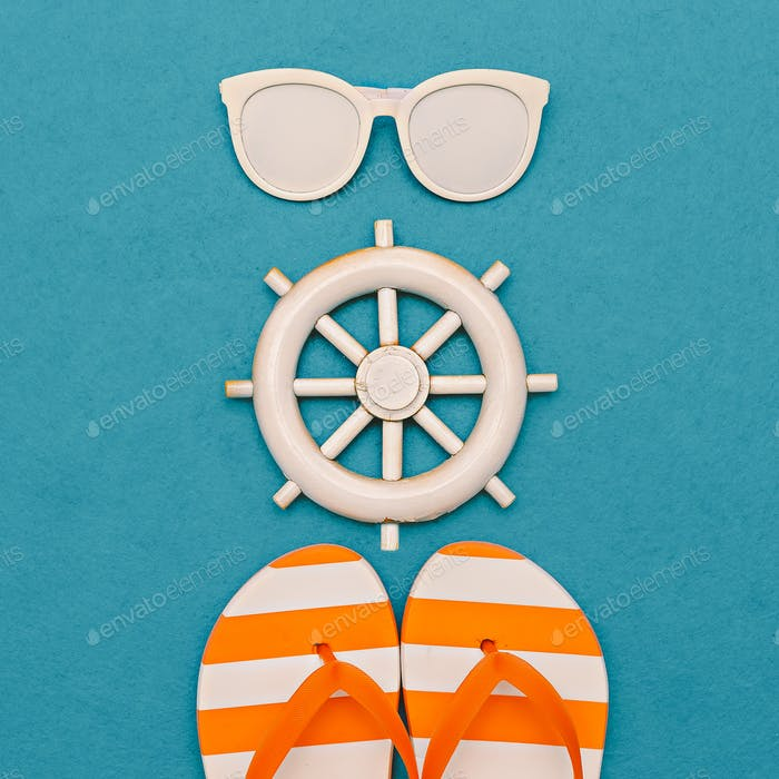 Marine style. Flip-flops and sunglasses. Minimal art