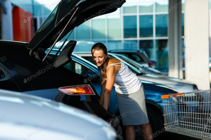 Young beautiful woman shifts the purchase from shopping cart in