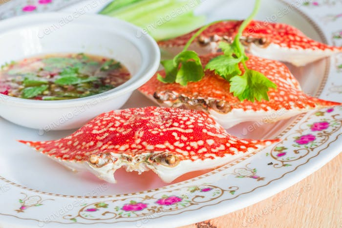 Stuffed crab on dish