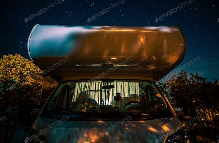 Night in RV Camper Van