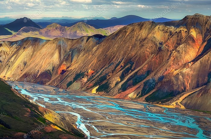 Landscape view of Landmannalaugar colorful volcanic mountains and river, Iceland