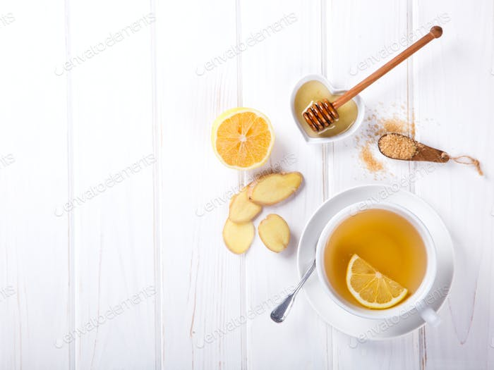Cup of Ginger Tea.Virus Immunity.Concept Of Healthy Eating.