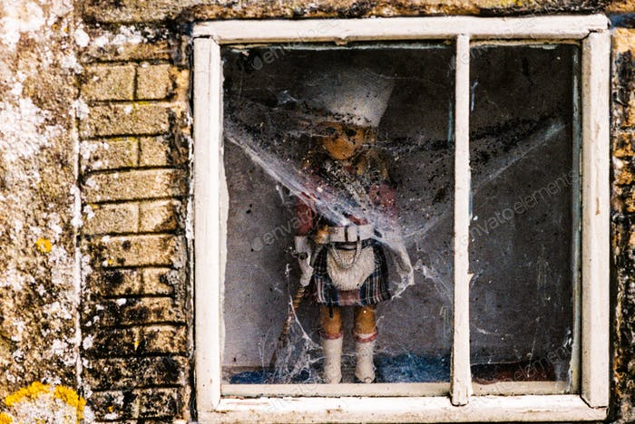 Creepy Doll Covered in Webs in a Window