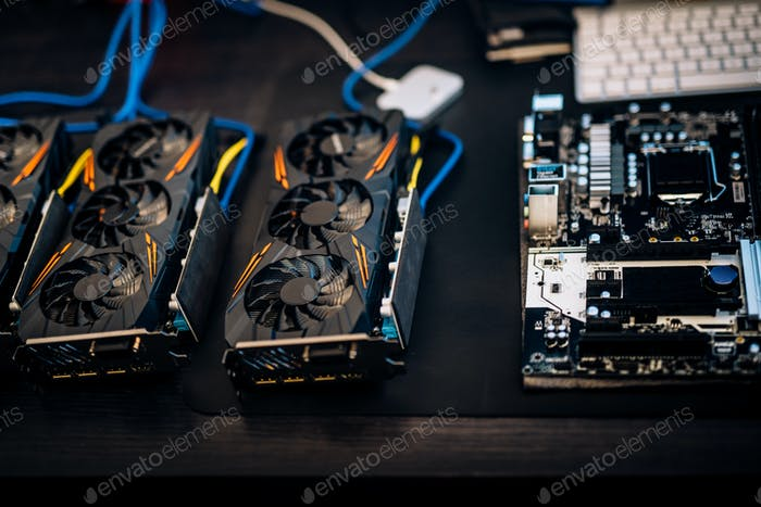 Cryptocurrency mining rig components, graphic cards to mine for digital cryptocurrency.