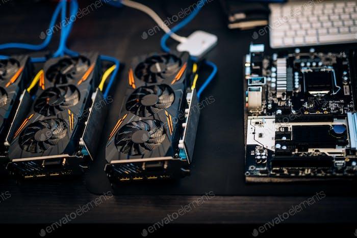 Kryptowährung Mining Rig Komponenten, Grafikkarten zu Minen für digitale Kryptowährung.