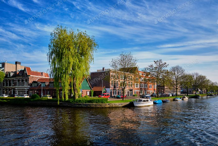 Boats, houses and canal. Harlem, Netherlands