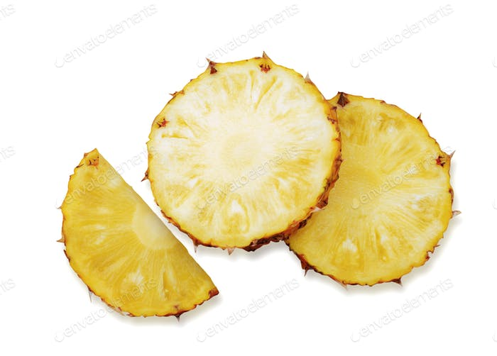 Pineapple slices on white background