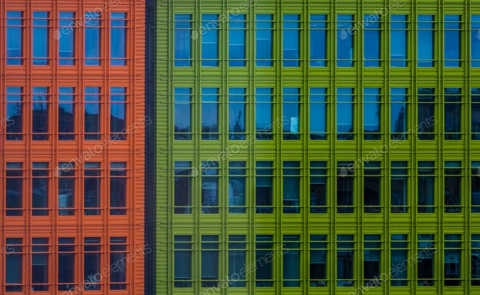 Colorful commercial buildings