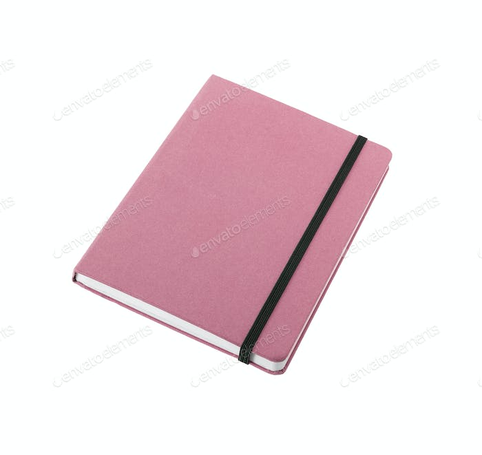 pink color cover note book isolated on white background
