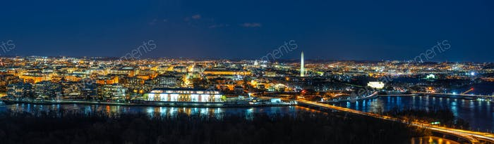 Panorama Top view scene of Washington DC down town which can see United states Capitol