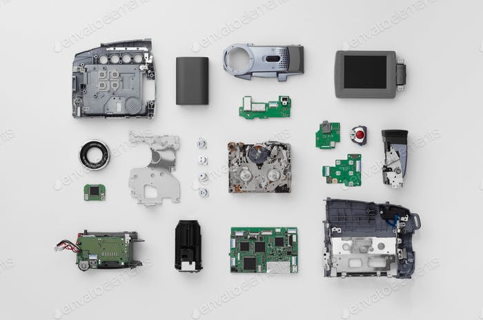Parts of a mini DV video camera
