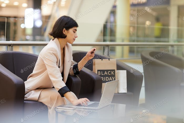 Beautiful Woman Online Shopping in Mall