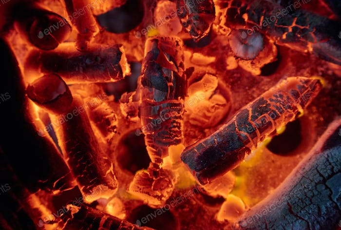 Close-up view of burnt charcoal