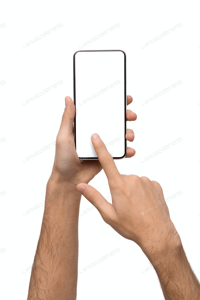 Hands using smartphone with blank screen on white background