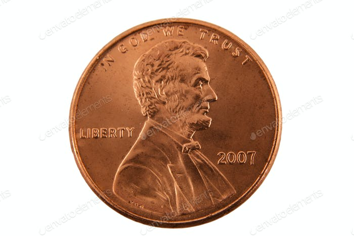 Isolated US penny