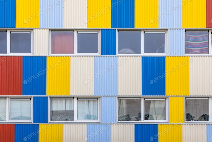 Windows of Student housing in shipping containers