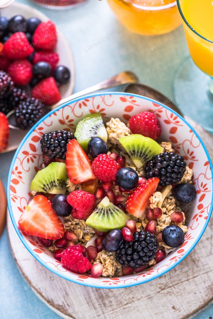 fresh fruits in breakfast bowl