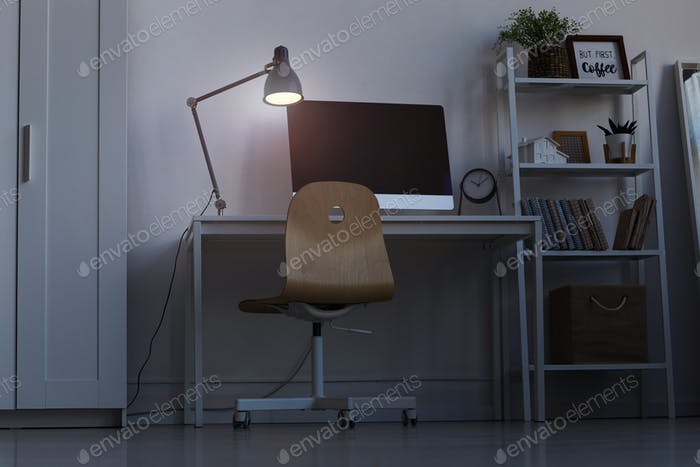 Home Office Workplace in Dark