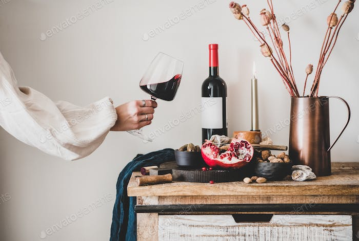 Womans hand holding glass of wine and set of snacks