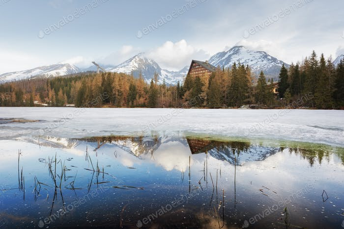 Lake Strbske pleso in spring time