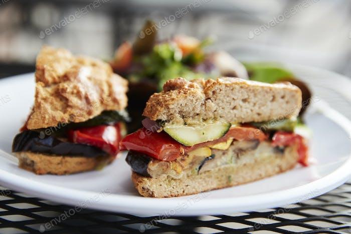 Healthy Vegetarian Sandwich On Plate In Coffee Shop