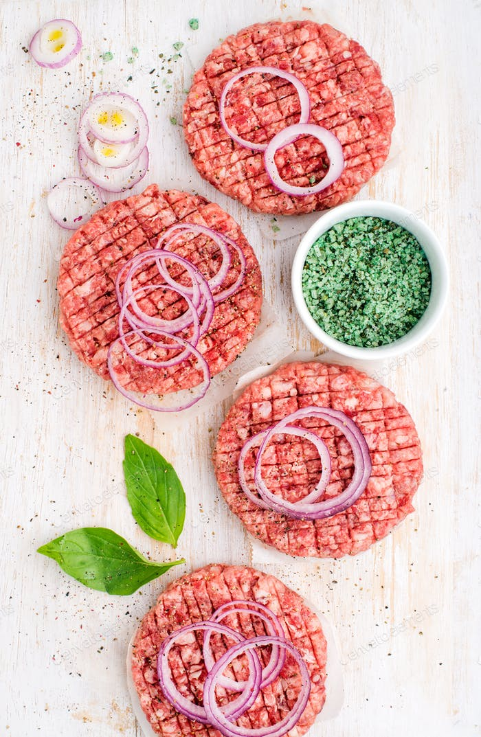 Raw ground beef meat cutlet for making burgers