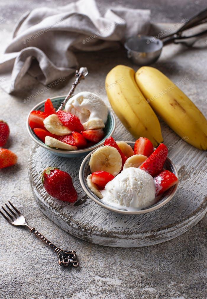 Strawberry, banana and ice cream dessert