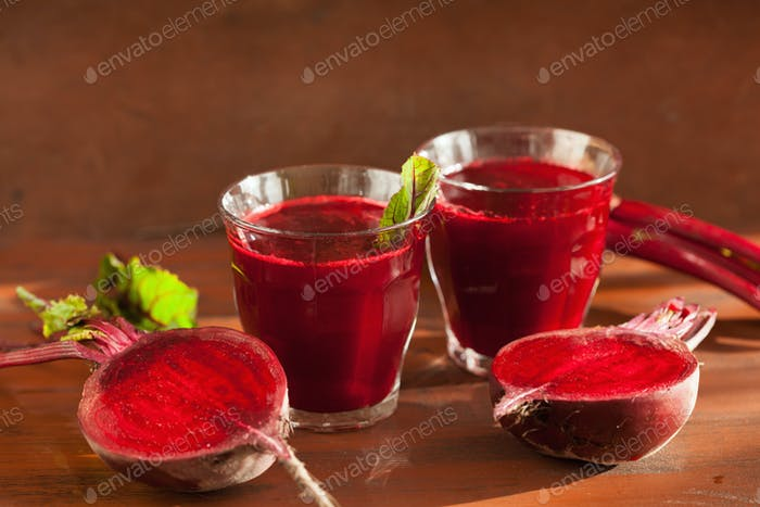 fresh healthy beetroot juice and vegetable