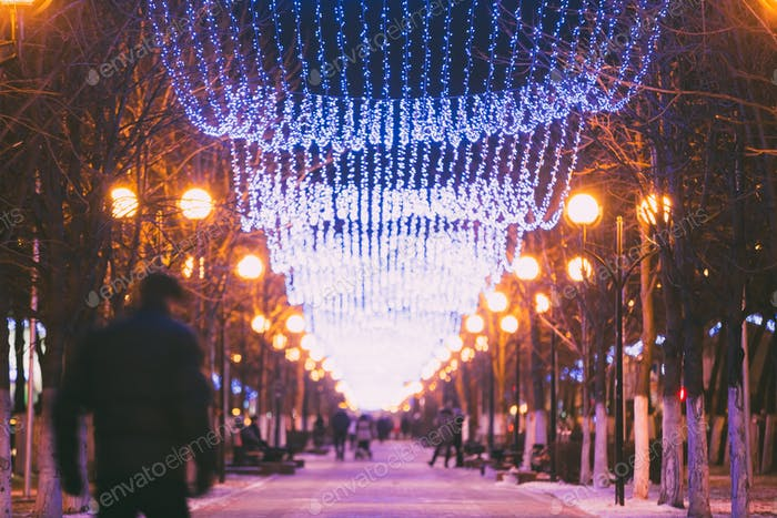 Festive Illumination On Street In Gomel. New Year In Belarus.