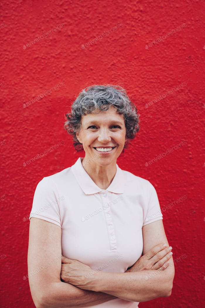 Confidently smiling mature woman
