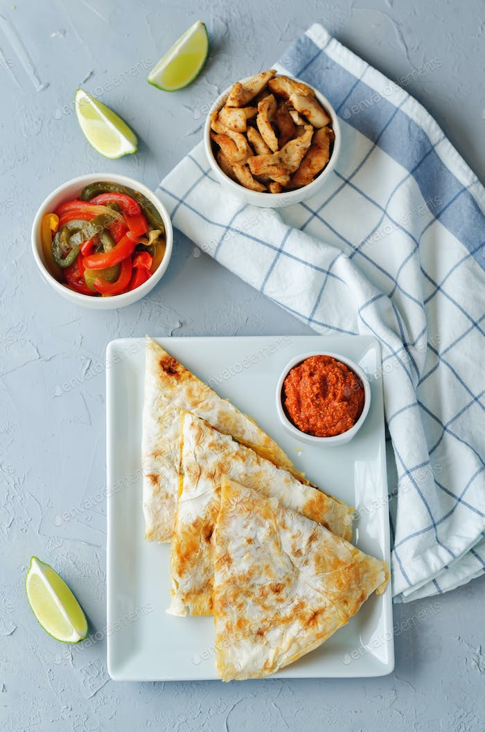 Chicken Bell pepper quesadilla