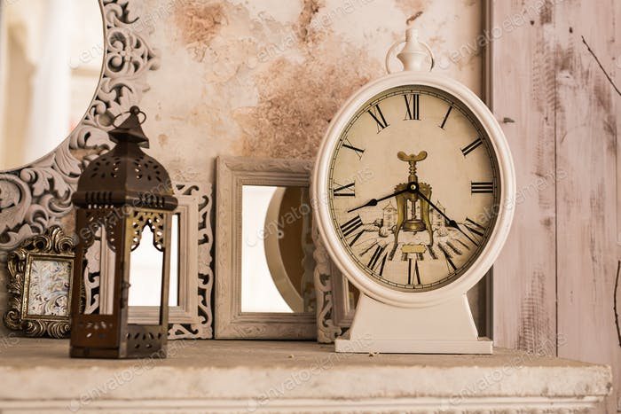 Vintage clock. Retro still life