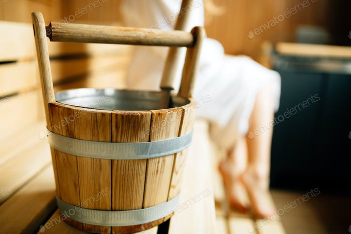 Sauna wooden bucket