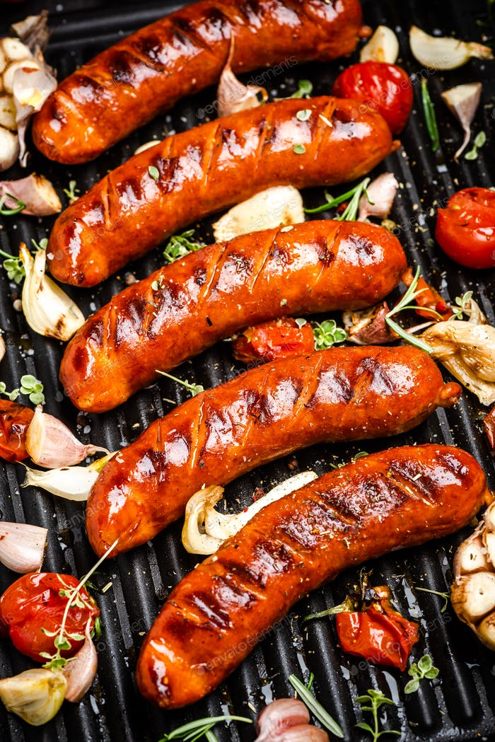 BBQ Grilled Meat Sausages with Herbs,Spices and Vegetables. Summer Party Food