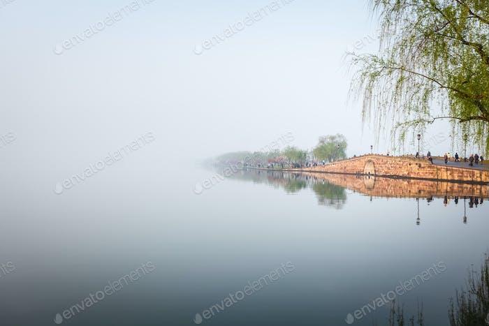 hangzhou broken bridge in west lake