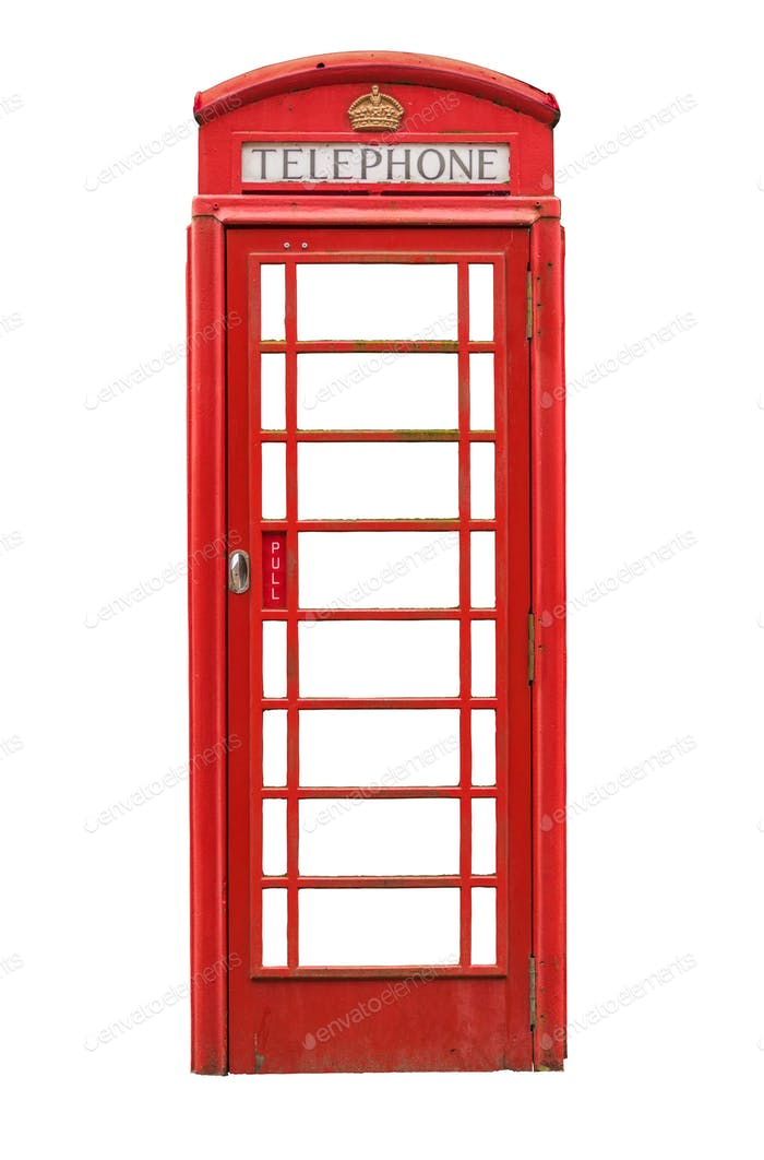 Isolated British Telephone Box